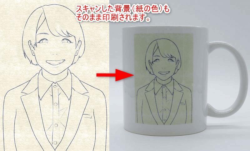 スキャンした紙色がそのまま印刷されたマグカップ